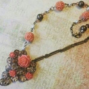 Upcycled celluloid rose necklace
